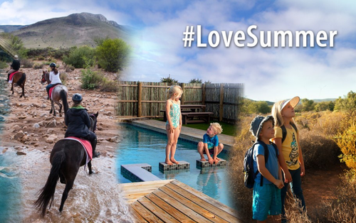 Kids enjoying horse riding, a swimming pool and nature in general.  Cape Nature want to promote their child friendly accommodation with their awesome summer activities