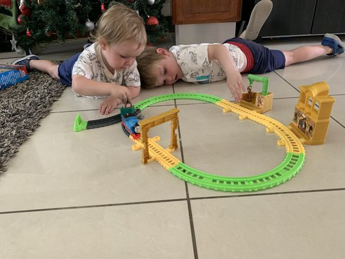 Playing with Thomas the Tank Engine