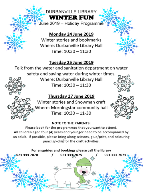 Durbanivlle Library |Winter Holiday Programme 2019 | Kids activities