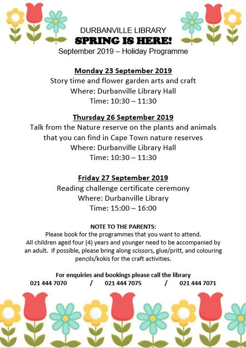 September Holiday programme | Durbanville Library | Things to do With Kids