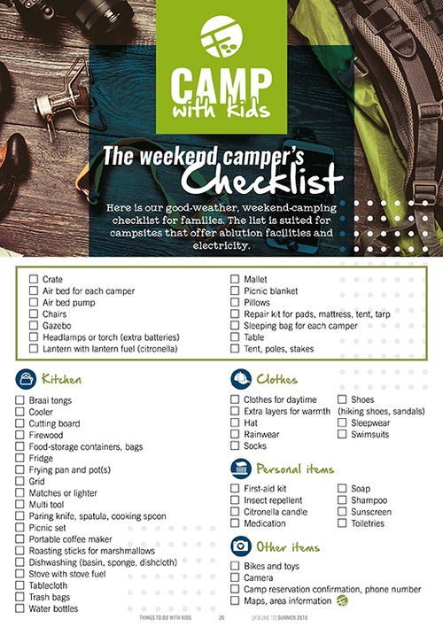 Camper's checklist | Things To Do With Kids | Camping with kids