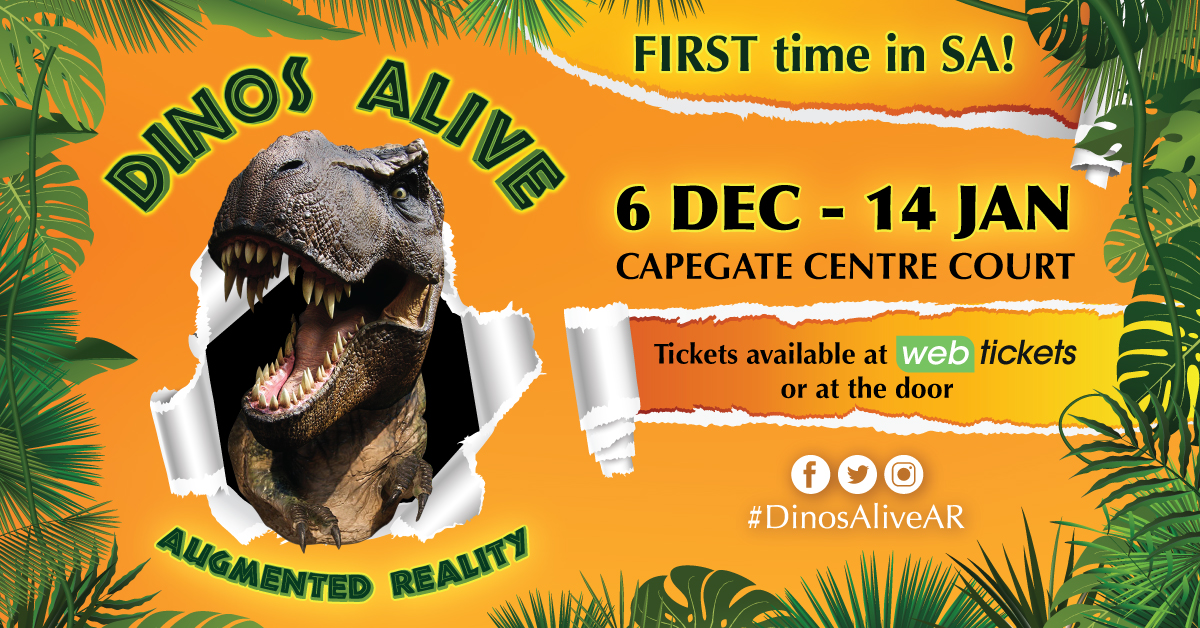 Win tickets to DinosAliveAR at CapeGate Shopping Centre
